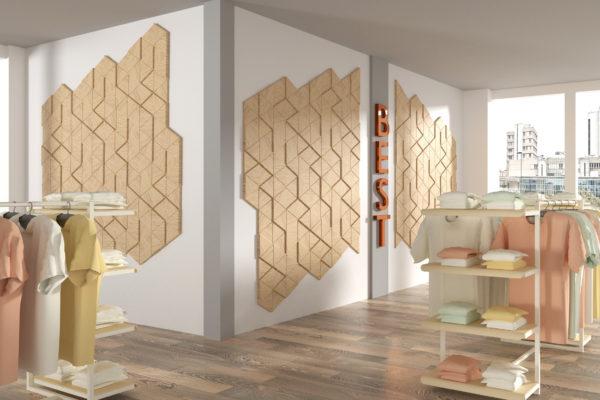 trójkąty w sklepie na ścianie